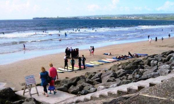 surfing lessons at Lahinch, Ireland